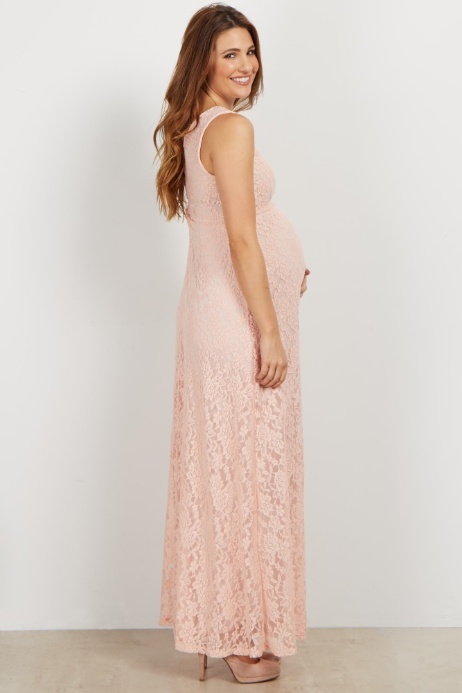73a21399704d7 Light Pink Lace V Neck Maternity Evening Gown