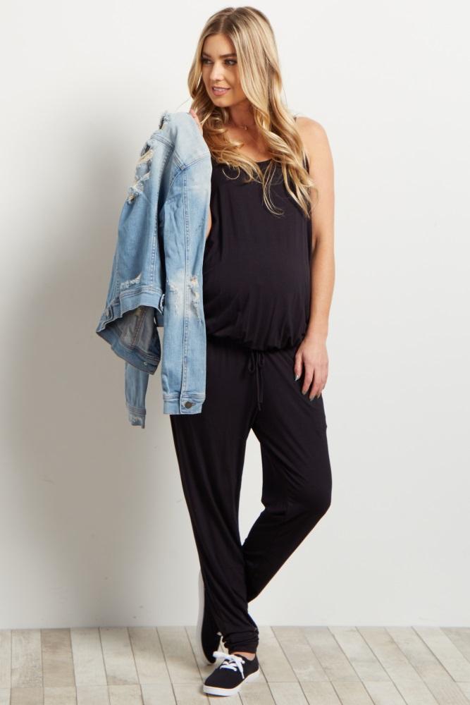 black basic sleeveless maternity jumpsuit