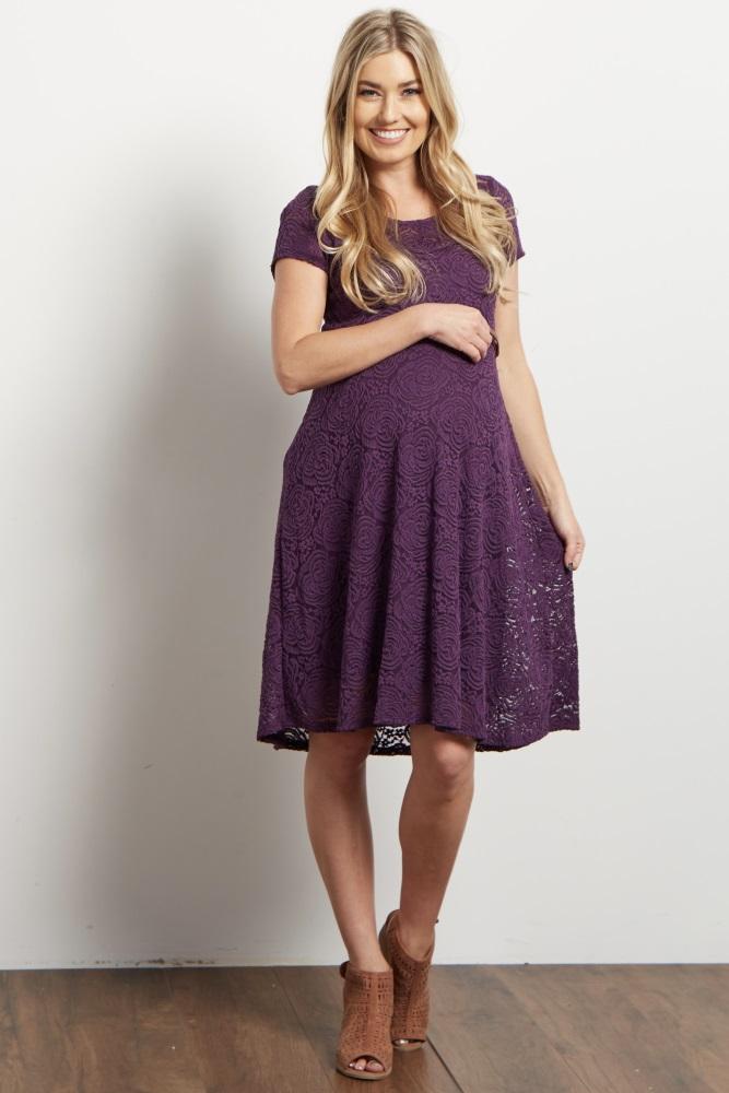 91cdb5f2bb Purple Lace Belted Maternity Dress