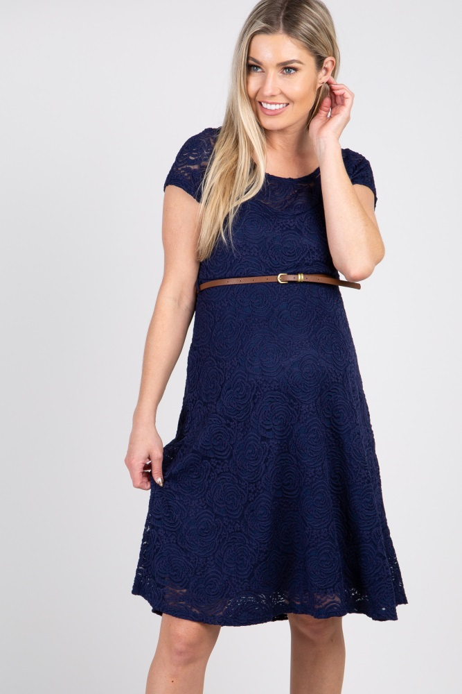 8d85d0194dd Navy Lace Belted Maternity Dress