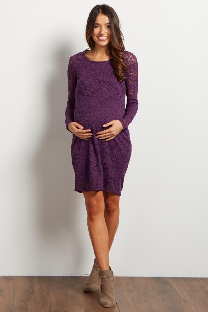 29cae391ac314 Purple Lace Rosette Overlay Maternity Dress