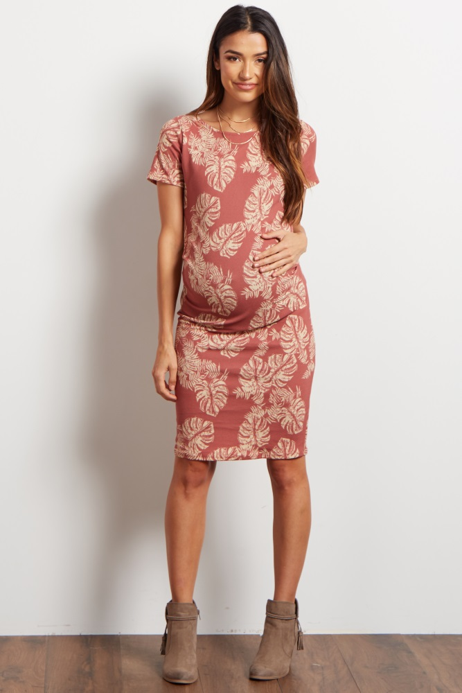 d22a1cf34d Pink Tropical Leaf Fitted Maternity Dress