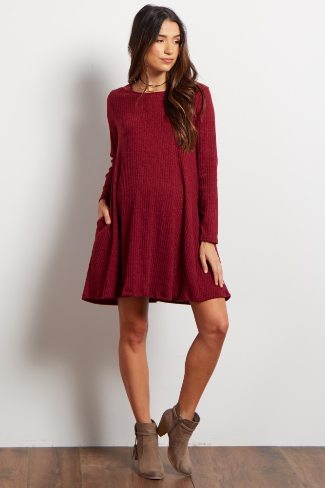 12232feb8 Burgundy Solid Ribbed Maternity Sweater Dress