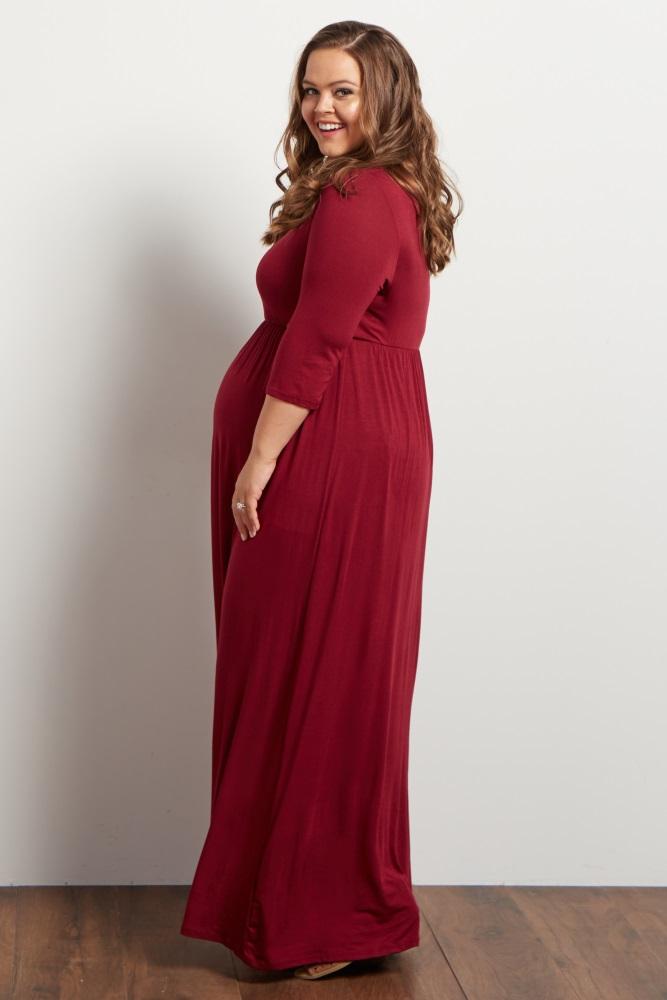 8407ec74767bb Burgundy 3/4 Sleeve Plus Maternity Maxi Dress