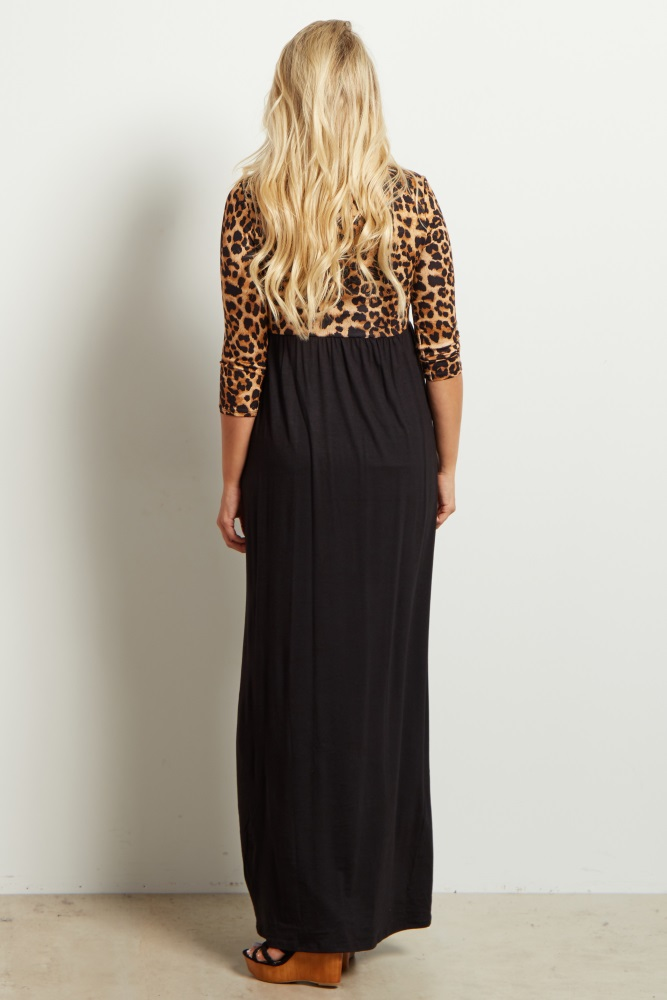 77c5cecce3 Black Animal Print Colorblock Maternity Maxi Dress