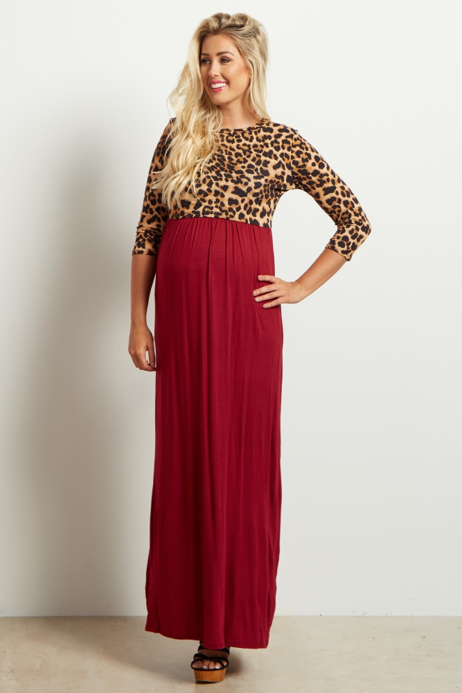 9a6f9ff5ec Burgundy Animal Print Colorblock Maternity Maxi Dress