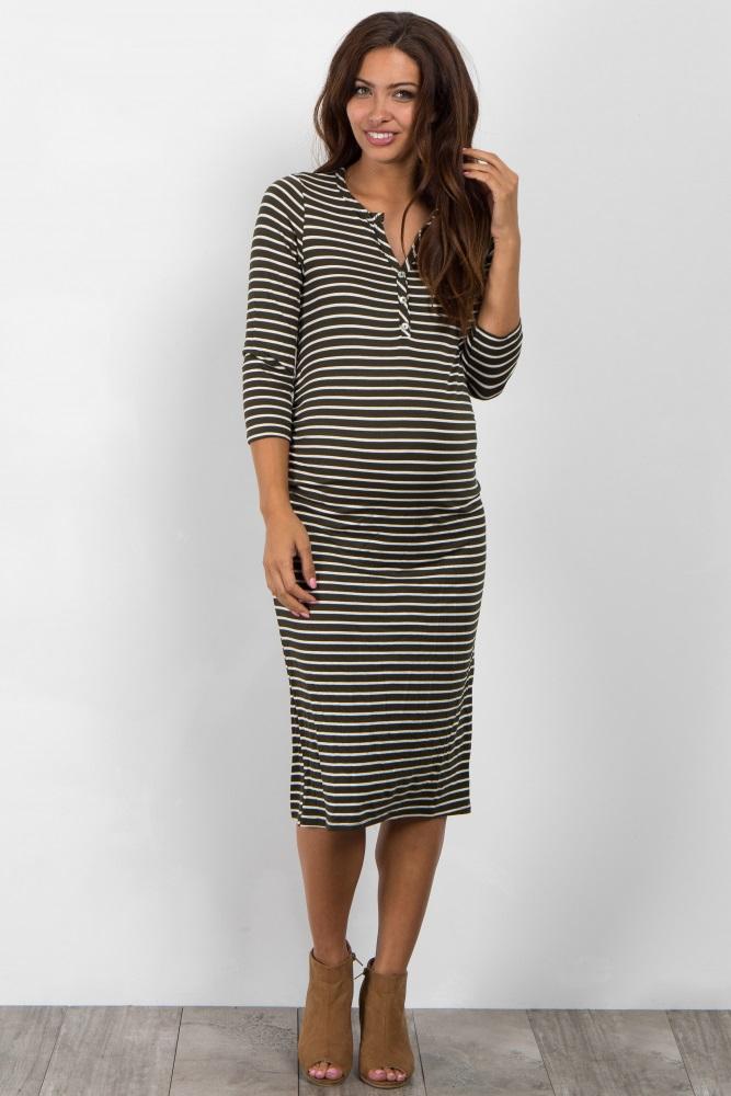 400d9df875 Olive Green Striped Button Up Midi Maternity Dress