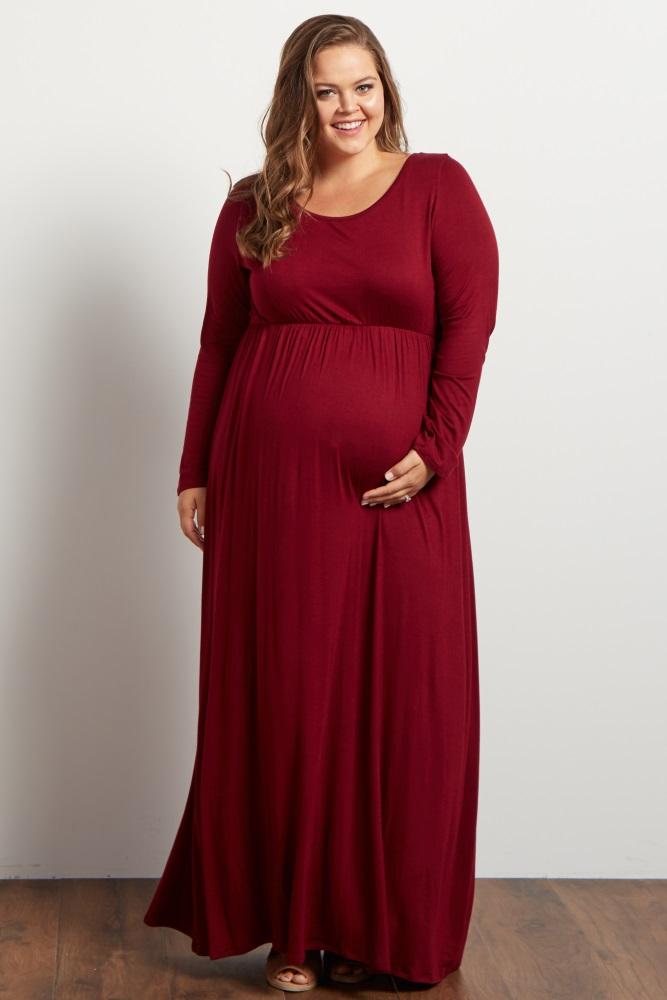 7349f48eefe83 Burgundy Long Sleeve Plus Maternity Maxi Dress