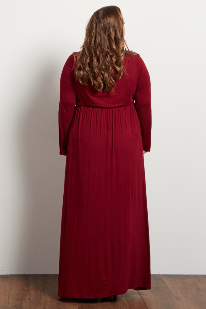28cf5b12d153 Burgundy Long Sleeve Plus Maternity Maxi Dress