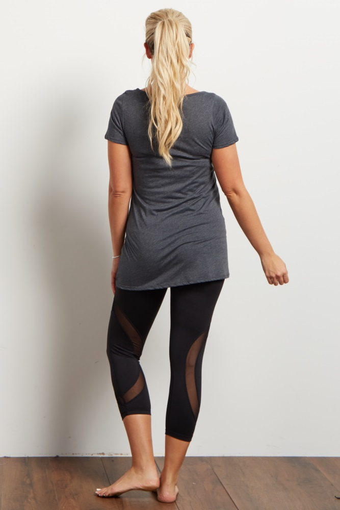 059720f90430f Black Mesh Accent Cropped Active Maternity Leggings