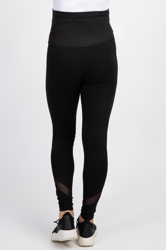 9601c4d7fcef6 Black Mesh Accent Active Maternity Leggings