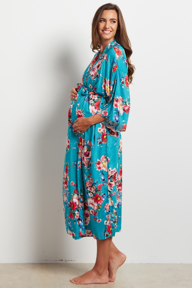 cced51f3e8a Jade Floral Delivery Nursing Long Maternity Robe