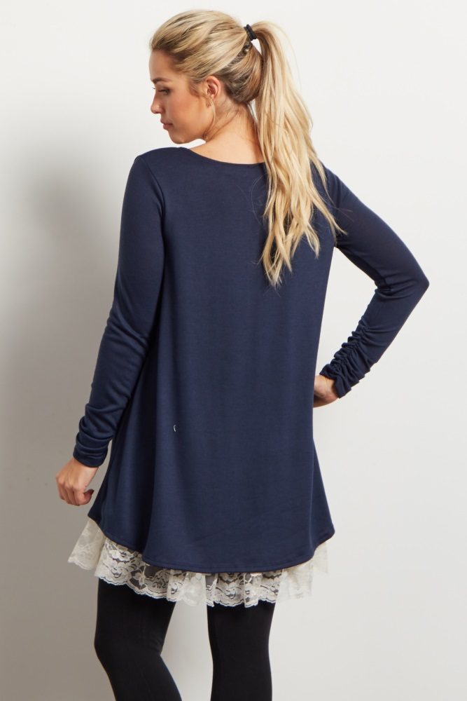 b347ced5647ba Navy Lace Hemline Accent Knit Maternity Tunic