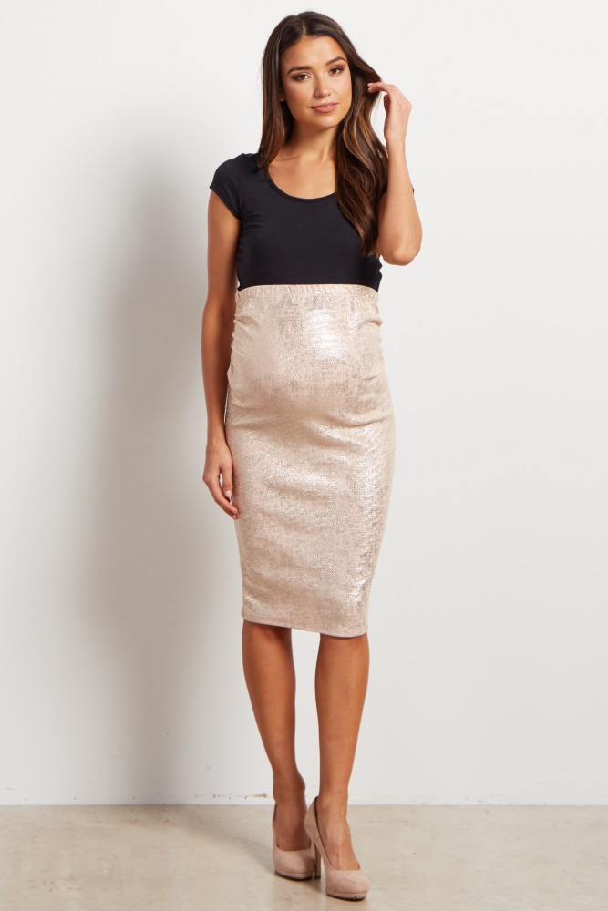 5d7ad9d6c9d43 Pink Shimmer Fitted Maternity Skirt