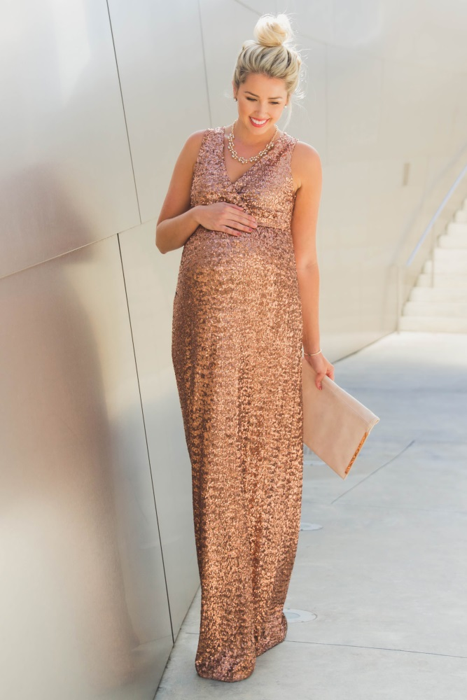 579ce674b995d Gold Sequin V Neck Sleeveless Maternity Evening Gown