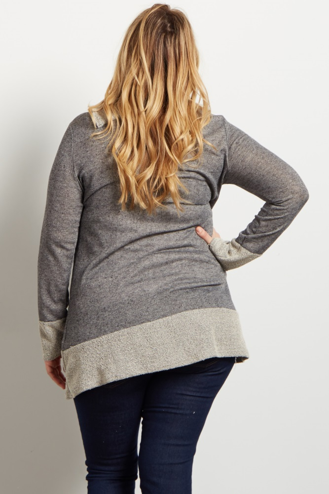 a5371870f15c5 Black Cowl Neck Zipper Accent Knit Plus Maternity Sweater