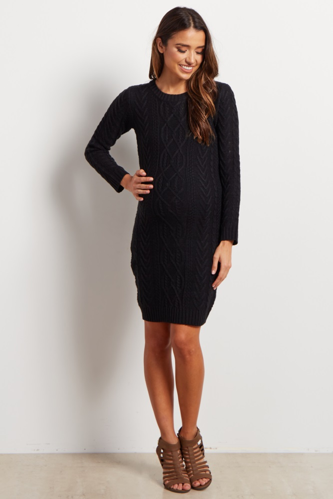 24fee6e1c56 Black Cable Knit Long Sleeve Maternity Sweater Dress
