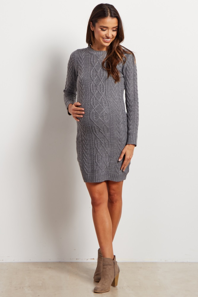 9716da67494 Grey Cable Knit Long Sleeve Maternity Sweater Dress