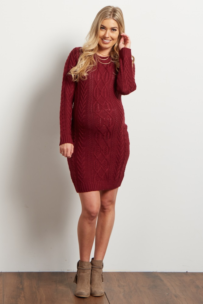 e89044967 Burgundy Cable Knit Long Sleeve Maternity Sweater Dress