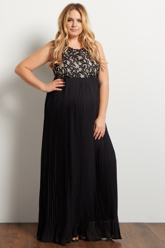 768e811e9c Black Pleated Chiffon Lace Top Plus Maternity Maxi Dress