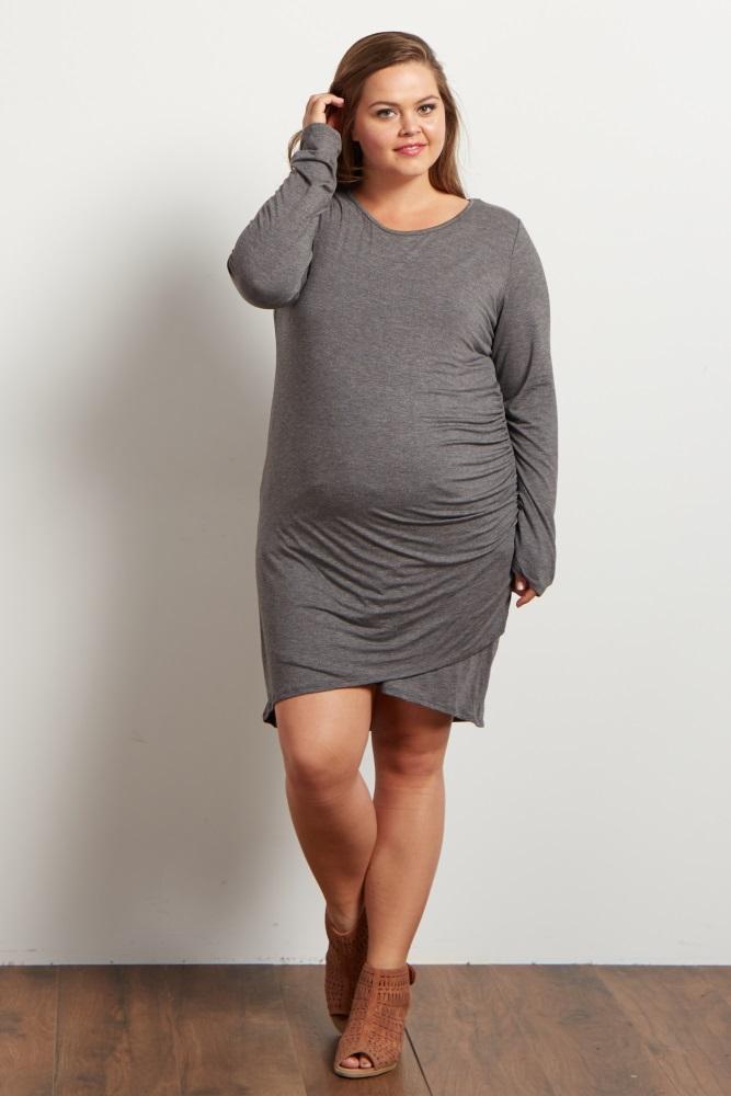 67722bdff87 Charcoal Ruched Side Plus Maternity Dress