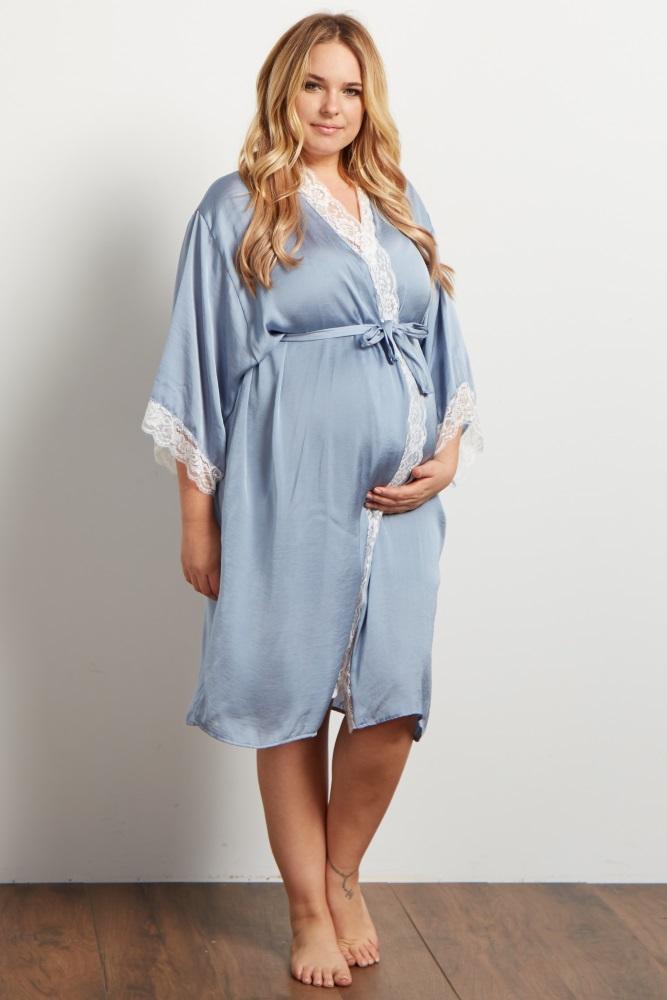 f37ac7ee526 Blue Satin Lace Trim Plus Delivery Nursing Maternity Robe