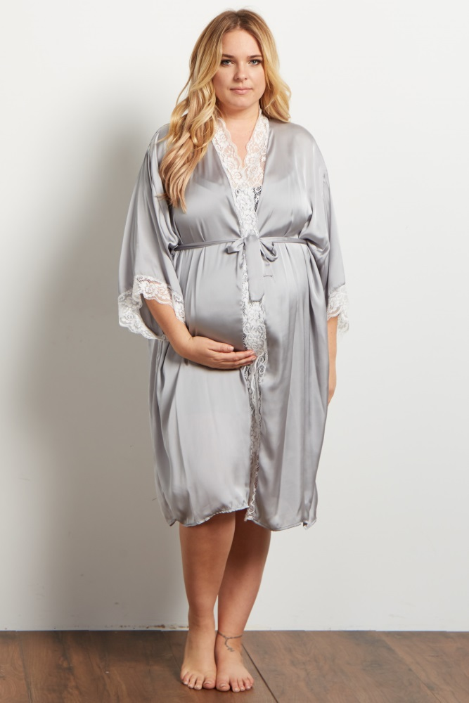be12dae780d Grey Satin Lace Trim Plus Delivery Nursing Maternity Robe