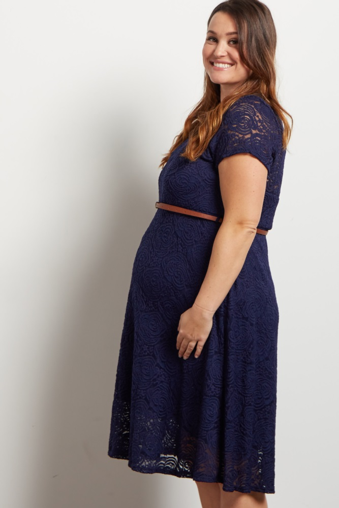 bdbd7cbcc23 Navy Lace Belted Plus Maternity Dress
