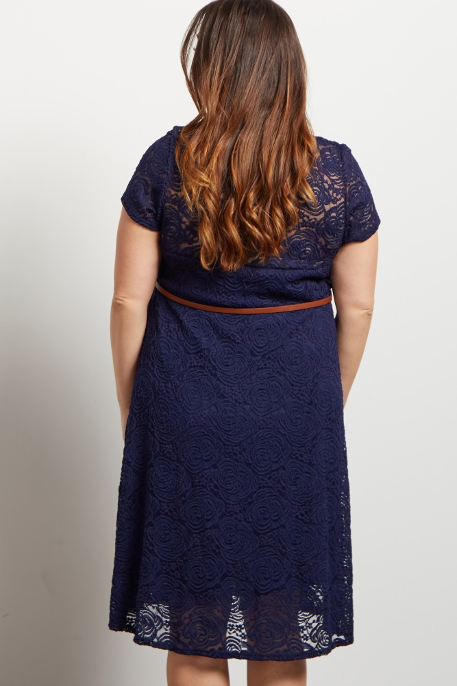 aa1127ef79ec Navy Lace Belted Plus Maternity Dress