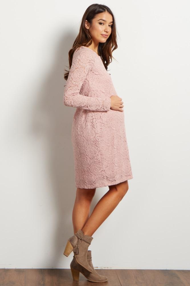 150e6f946a8ec Mauve Lace Rosette Overlay Maternity Dress