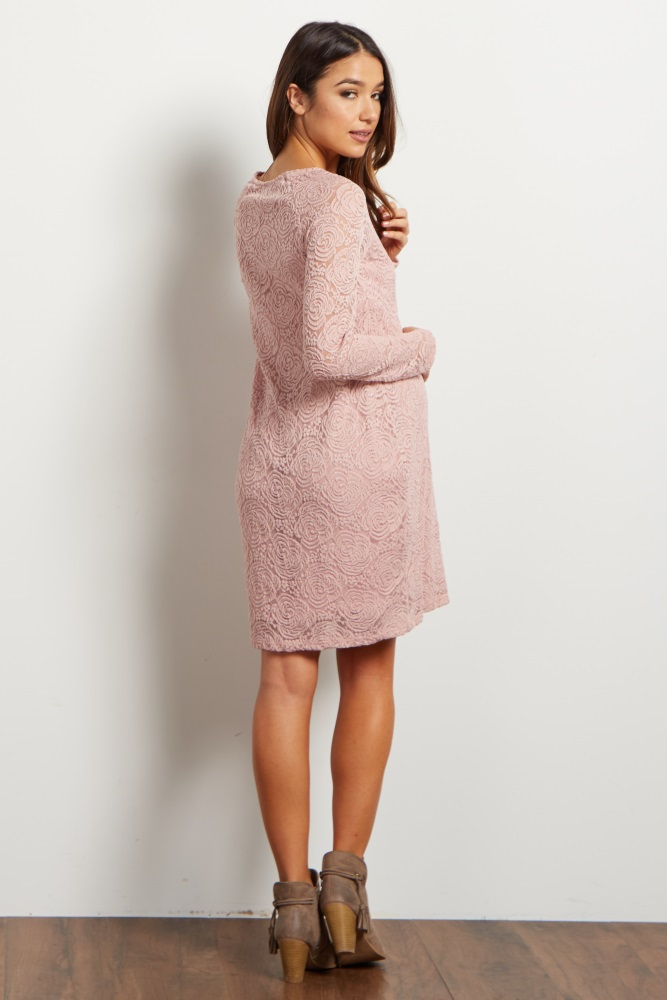 db94e475f4e Mauve Lace Rosette Overlay Maternity Dress