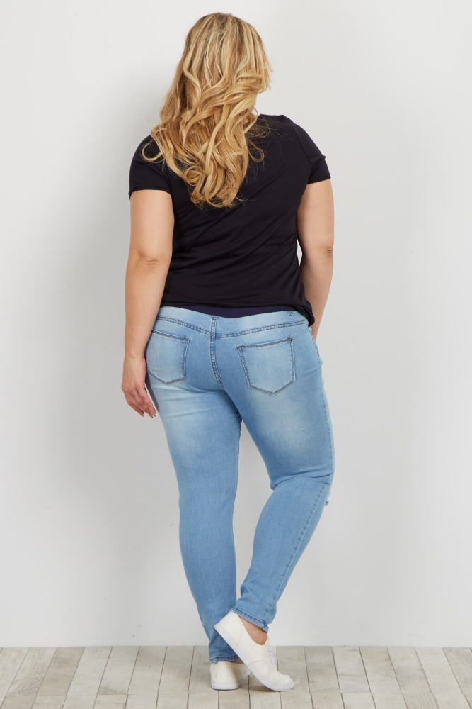c28f2acb291db Light Blue Faded Distressed Plus Maternity Skinny Jeans