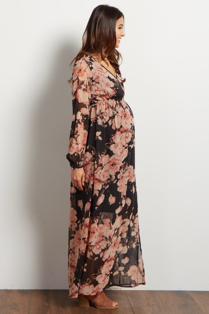 9420667d723 Charcoal Floral Chiffon Wrap Maternity Maxi Dress