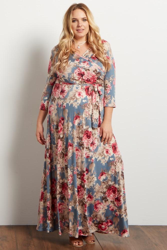 90872f56dc6 Light Blue Floral Sash Tie Plus Maternity Nursing Maxi Dress