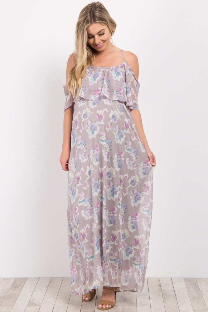 5669dff766b74 Grey Floral Cold Shoulder Maternity Maxi Dress