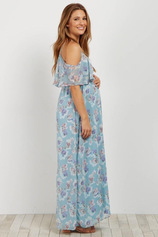 9da03f642a0e9 Light Blue Floral Cold Shoulder Maternity Maxi Dress
