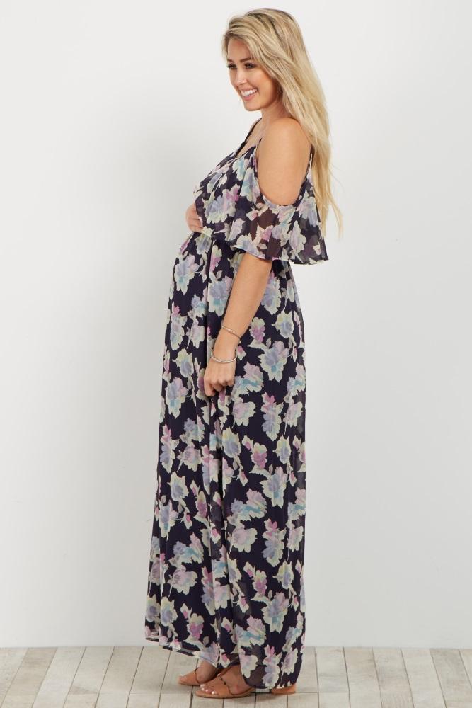 179aa06a66b Navy Floral Cold Shoulder Maternity Maxi Dress