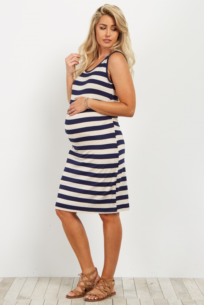 32368443f5f4f Navy Striped Sleeveless Fitted Maternity Dress