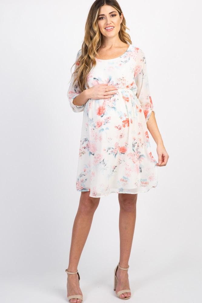 7de63247ffe08 Ivory Floral Chiffon 3/4 Sleeve Maternity Dress