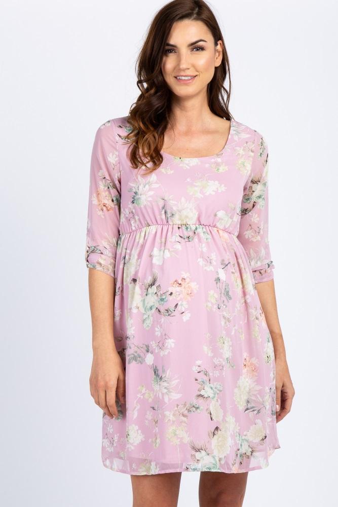 Light Pink Floral Chiffon 3/4 Sleeve Maternity Dress