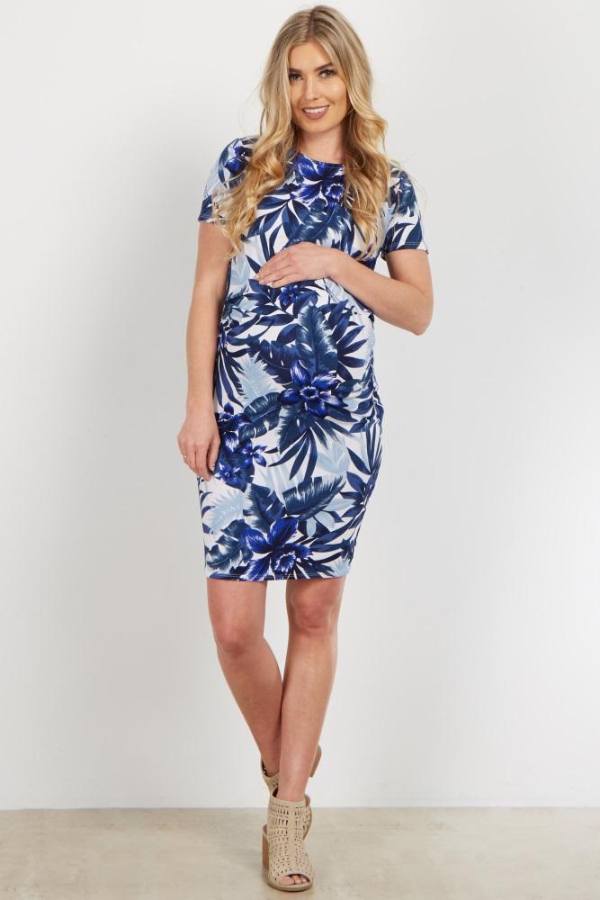 b1578edda98 Navy Tropical Fitted Maternity Dress