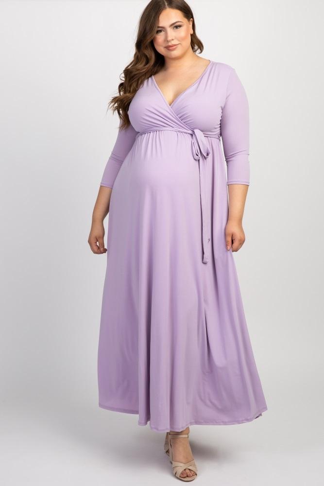 Lavender Draped 3/4 Sleeve Plus Maternity Maxi Dress