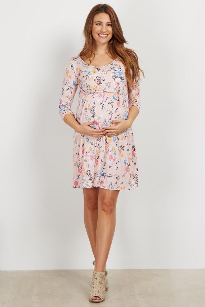 286312580b9ef Light Pink Floral 3/4 Sleeve Maternity Dress