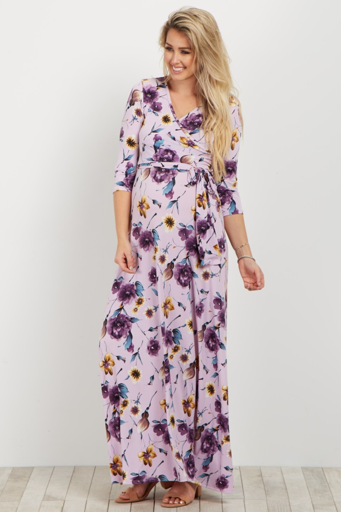 2c35a3c65c9 Purple Floral Maternity Nursing Maxi Wrap Dress