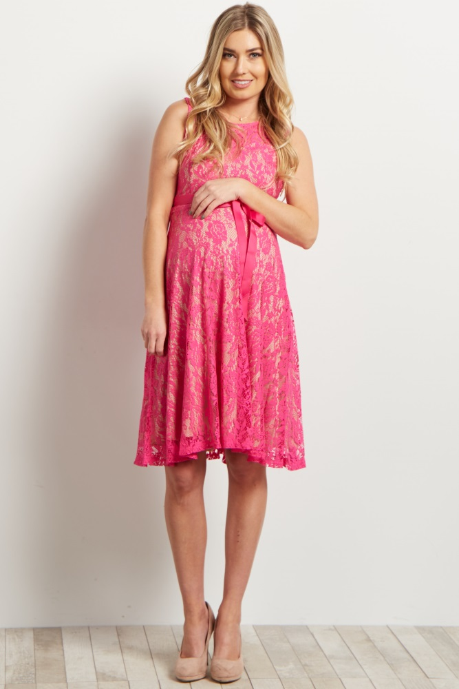 ba5c4c15038 Pink Lace Overlay Sash Tie Maternity Dress