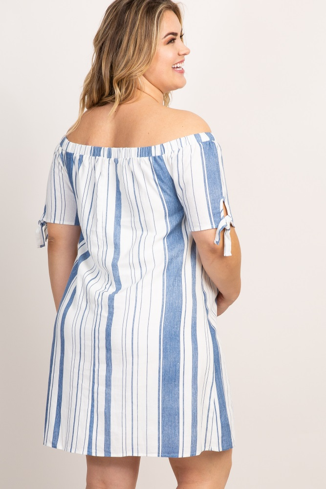05356467d8f75 Blue Striped Off Shoulder Linen Plus Maternity Dress