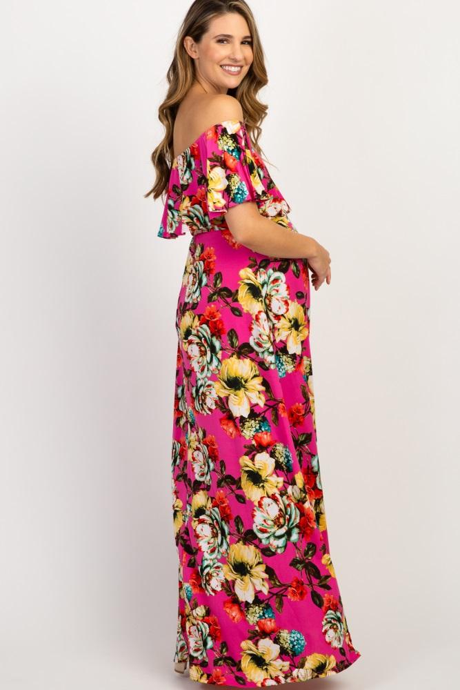 ba80c63bc0a8 Fuchsia Floral Off Shoulder Maternity Maxi Dress
