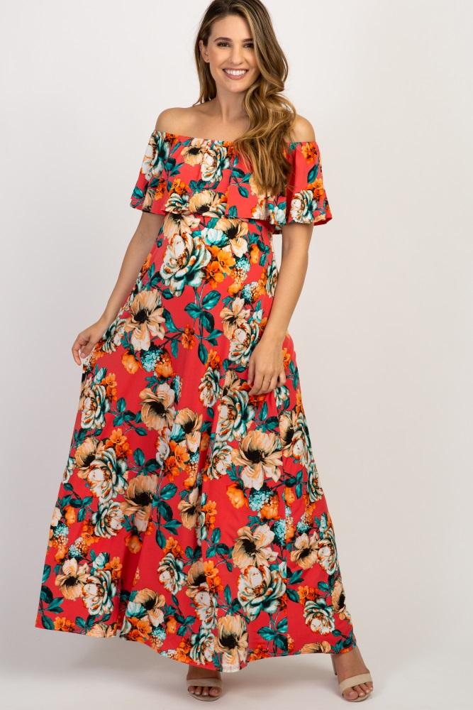 a4d8ae18699 Coral Floral Off Shoulder Maternity Maxi Dress