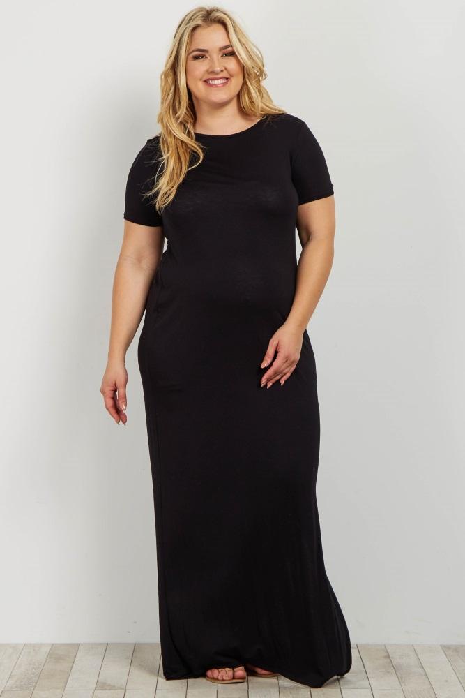ca880d91b1e Black Basic Side Slit Plus Maternity Maxi Dress