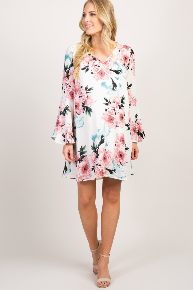 258be12e78043 Ivory Floral Chiffon Bell Sleeve Maternity Dress
